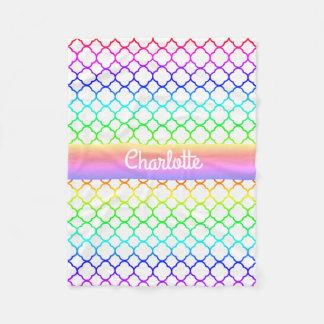 Quatrefoil Pattern Bright Rainbow Colors Monogram Fleece Blanket