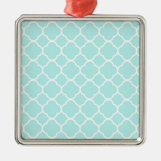 Quatrefoil Pattern Design Silver-Colored Square Decoration