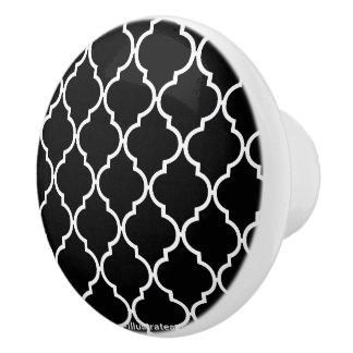 Quatrefoil Pattern Doorknob Ceramic Knob