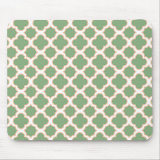 Quatrefoil Pattern Green and Peach Mouse Pad