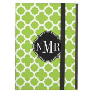 Quatrefoil Pattern Green and White Monogram Cover For iPad Air