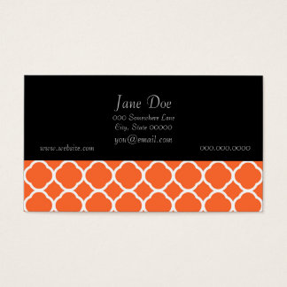 Quatrefoil Pattern in Mandarin Orange and White Business Card