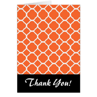 Quatrefoil Pattern in Mandarin Orange and White Card