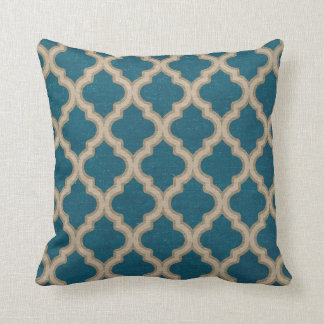 Quatrefoil Pattern in Turquoise and Taupe Cushion