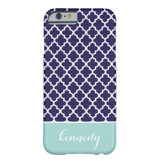 Quatrefoil Pattern Monogram Name | Navy Mint Green Barely There iPhone 6 Case