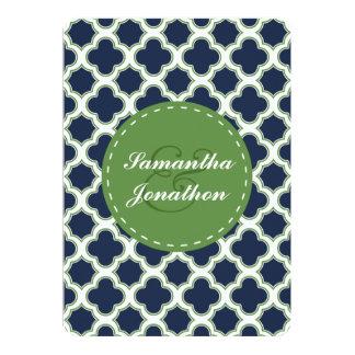Quatrefoil Pattern Navy Blue & Green Wedding Card