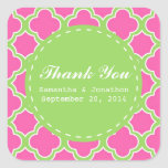 Quatrefoil Pattern Pink and Green Thank You Square Stickers