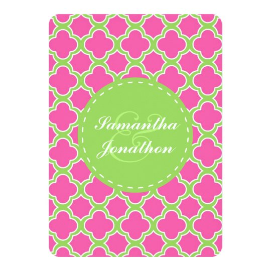 Quatrefoil Pattern Pink and Green Wedding Invite