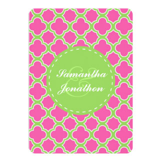 Quatrefoil Pattern Pink and Green Wedding Invite