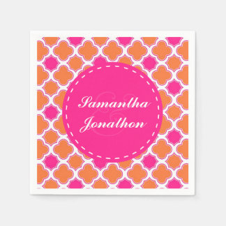 Quatrefoil Pattern Pink and Orange Wedding Disposable Serviette