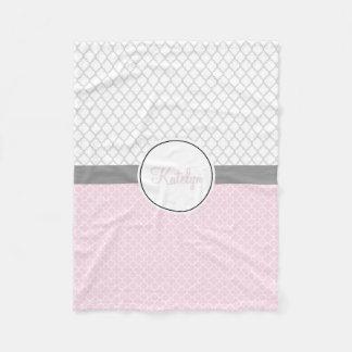 Quatrefoil Pattern Pink Gray   Custom Monogrammed Fleece Blanket