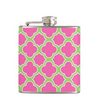 Quatrefoil Pattern Pink & Lime Green Hip Flask
