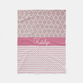 Quatrefoil Pattern Rose Gold | Chevron Monogram Fleece Blanket