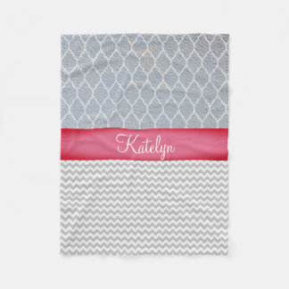 Quatrefoil Pattern Silver | Chevrons Monogram Fleece Blanket