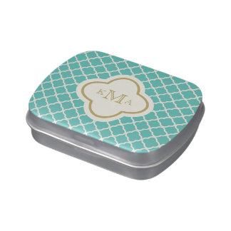 Quatrefoil Pattern Stylish Monogram Wedding Candy Tins