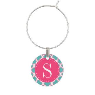 Quatrefoil Pattern Turquoise & Hot Pink Monogram Wine Charm