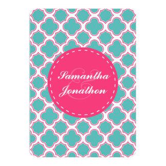 Quatrefoil Pattern Turquoise & Hot Pink Wedding Card