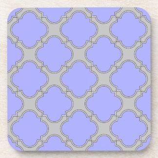 Quatrefoil periwinkle and gray coaster
