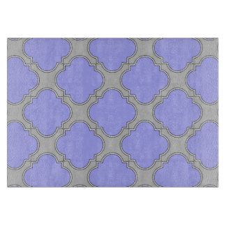 Quatrefoil periwinkle and gray cutting board