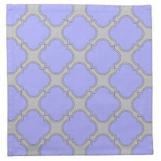 Quatrefoil periwinkle and gray napkin