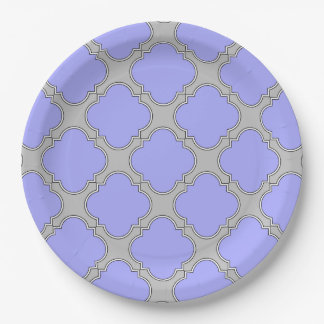 Quatrefoil periwinkle and gray paper plate