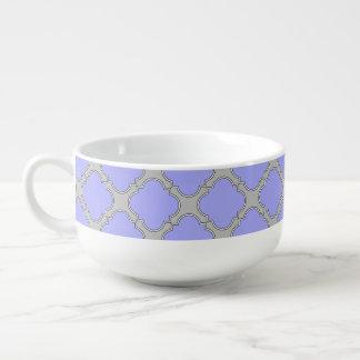 Quatrefoil periwinkle and gray soup mug