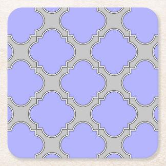 Quatrefoil periwinkle and gray square paper coaster