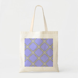 Quatrefoil periwinkle and gray tote bag