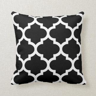Quatrefoil Pillow in Black and White Throw Cushion