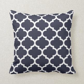 Quatrefoil Pillow - Navy Blue Pattern Throw Cushion