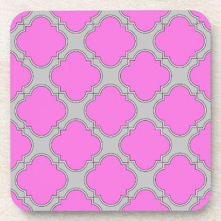 Quatrefoil pink and gray coaster