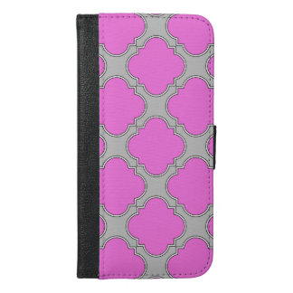 Quatrefoil pink and gray iPhone 6/6s plus wallet case