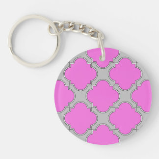 Quatrefoil pink and gray key ring