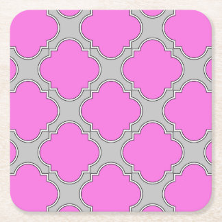 Quatrefoil pink and gray square paper coaster