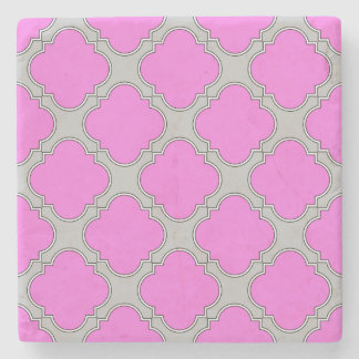 Quatrefoil pink and gray stone coaster