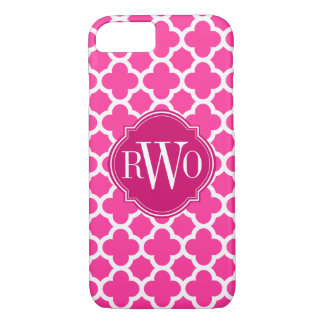 Quatrefoil Pink and White Pattern Monogram iPhone 8/7 Case