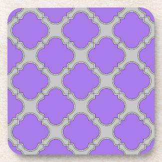 Quatrefoil purple and gray coaster