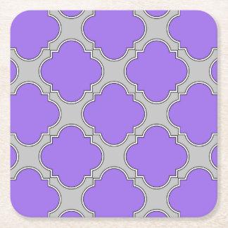 Quatrefoil purple and gray square paper coaster