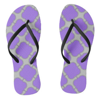 Quatrefoil purple and gray thongs