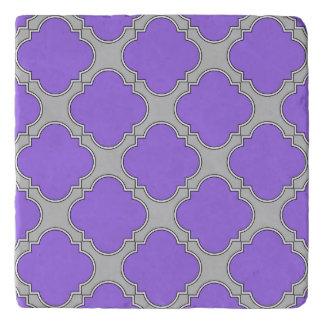 Quatrefoil purple and gray trivet