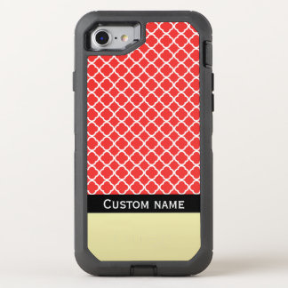 Quatrefoil Red White On Golden Black Add Your Name OtterBox Defender iPhone 8/7 Case