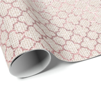 Quatrefoil Rose Gold Beige Creamy Pink Linen Wrapping Paper