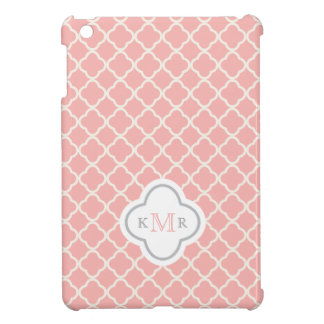 Quatrefoil Salmon Pink Pattern Stylish Monogram iPad Mini Cover