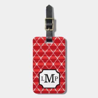 Quatrefoil Shadow Stripes Monogram | red Luggage Tag
