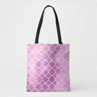 Quatrefoil Shape, Watercolors - Pink White Tote Bag
