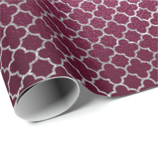 Quatrefoil Silver Gray Art Deco Beetroot Burgundy Wrapping Paper