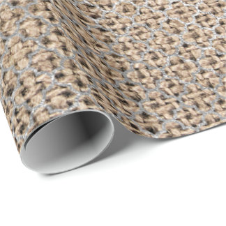 Quatrefoil Silver Gray Brown Beige Linen Shiny Wrapping Paper