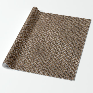 Quatrefoil Silver Gray Brown Maroon Linen Shiny Wrapping Paper