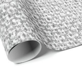 Quatrefoil Silver Grey Graphite Monochromati Linen Wrapping Paper