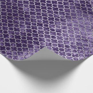 Quatrefoil Silver Metallic Purple Violet Velvet Wrapping Paper